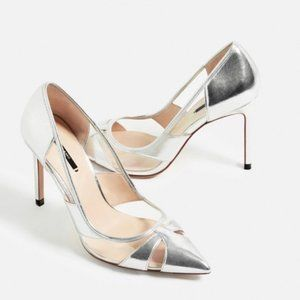 Zara   40. Silver Pointed Toe Pumps